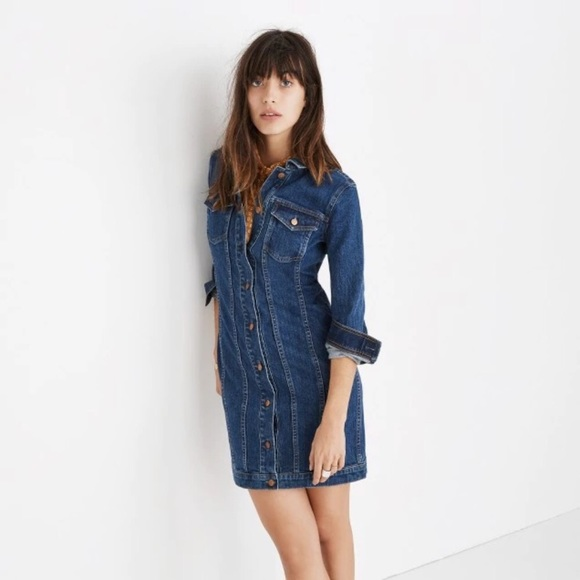 02595bda559 MADEWELL - NWT denim seamed button front dress
